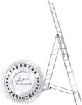 Лестница трехсекционная универсальная алюминиевая 3х6, АЛЮМЕТ, 5306