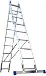 Лестница двухсекционная универсальная алюминиевая усиленная 2х16, АЛЮМЕТ, 6216